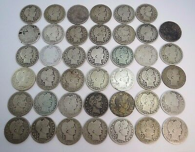 40-Roll BARBER Quarters $10 Face Value, Circulated 90% Silver UNSEARCHED $.25