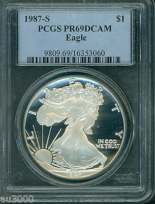 1987-S American Silver Eagle ASE S$1 PCGS PF69 PR69 PROOF DCAM (Deep CAMEO) PQ
