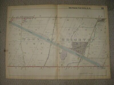 Vintage Antique 1914 Brighton Barge Canal Monroe County New York Handcolored Map