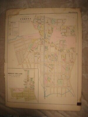 Vintage Antique 1891 Corona Middle Village Newtown Queens New York Handcolor Map