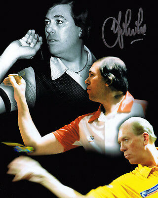 JOHN LOWE 9 Dart Legend SIGNED 10x8 Photo Montage AFTAL Autograph COA
