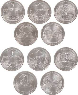 2011 P & D America the Beautiful Quarter 10-Coin Set Uncirculated Mint State