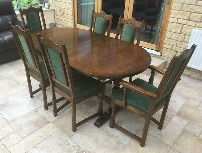 Dark Oak Extending Dining Table and 6 chairs