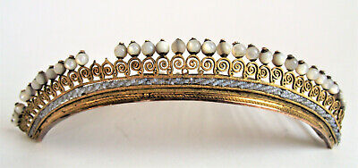 Antique 19th French Empire 12k Gold Seed Pearl Tiara Crown Diadem Hair Comb 1820