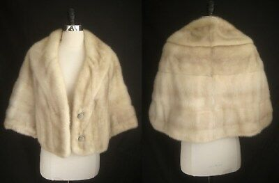 3e4da2bb0f34f BLONDE MINK FUR Cape Jacket ~Tourmaline White Ivory Wrap Bolero ...