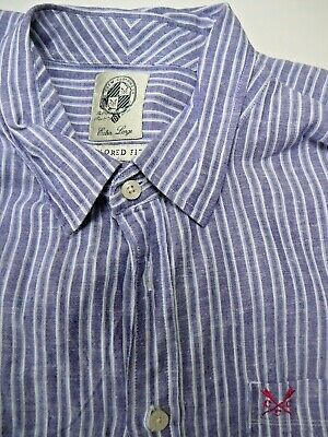 dc2893f4014 CREW CLOTHING COMPANY SHORT SLEEVE LINEN STRIPED SHIRT XL rrp £25 - ONLY  £9.99
