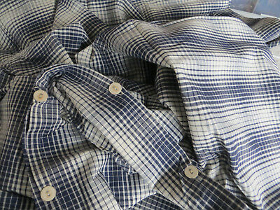 """Unused  Cottage Checked Duvet Cover Plaid Blue White Single Bed Twin 66 """" by 77"""""""