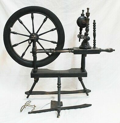 "Old 30 1/2"" Tall Antique Black Wooden SPINNING WHEEL Primitive"