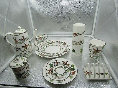 "Crown Staffordshire ""Hunting Scene"" 8 Pc. Mixed Lot Napkin Holder, Vase, Cup Etc"