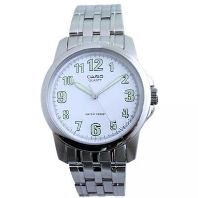 Casio MTP1216A-7B Mens Stainless Steel Analog Dress Watch Luminous WHITE Dial