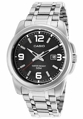 Casio Men's Silver-Toned Stainless Steel Quartz Watch w/ Black Dial MTP1314D-1A