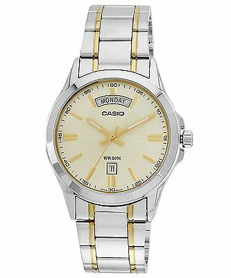 Casio MTP1381G-9A Men's Classic Two Tone Stainless Steel 50M Day Date Gold Dial