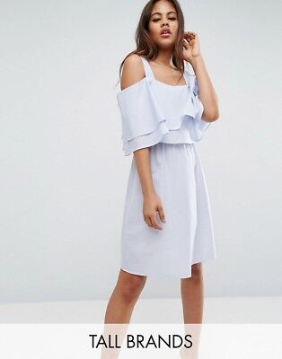 f5ad7cdcc3 NEW Y.A.S Tall Pinstripe Cold Shoulder Dress With Ruffle Layer, Blue, Size  S £