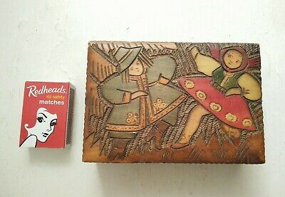 Vintage Hand Carved Wooden Box Cards  Cigarettes  Jewellery Trinket Box