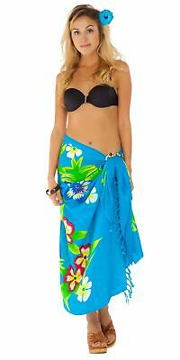 c24bcdacd87a91 1 WORLD SARONGS Womens Hawaiian Floral Cover-Up Sarong in Turquoise ...