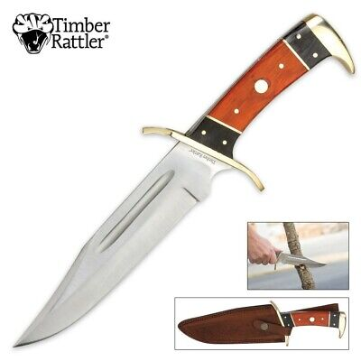 "Timber Rattler Custom Large 12"" Pakka Wood Hunting Survival Bowie Knife w/Sheath"