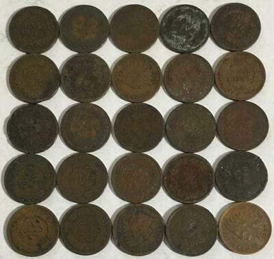 1800s-1900s US Indian Head Cents Set of 25 assorted! Rough Indians! Old US Coins