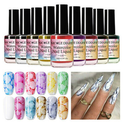 NICOLE DIARY 15ml Watercolor Ink Nail Polish Blossom Gel Marble Liquid Gradient
