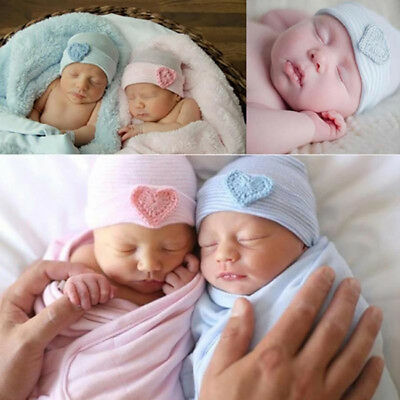 Newborn Hats Caps For Girls Infant Soft Beanie Top Knot Cotton Stretchy Baby BS