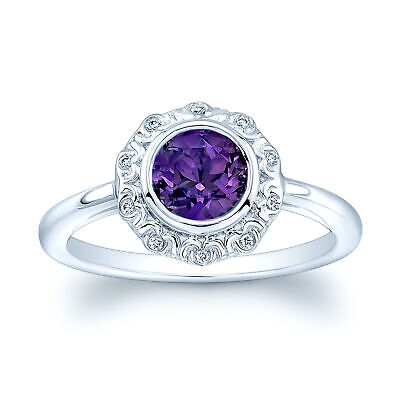 0.94 TCW 14k White Gold Natural Round Cut Amethyst Real Diamond Antique Ring