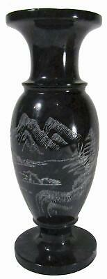 """Black Marble Vase Etched Mountain Scene Vintage 70s 20 cm / 7¾""""  Tall"""