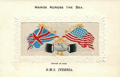 R.m.s. Ivernia Ship Embroidered Antique Postcard American & British Flags