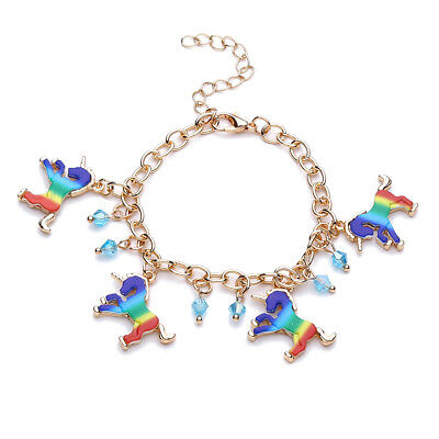 Women Rainbow Horse Unicorn Charm Beads Link Chain Bracelet Gifts Jewelry HC
