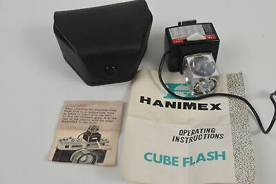 Hanimex Cube Flash MAGICUBE + Vintage Black Case Bag & Manual RETRO Photography