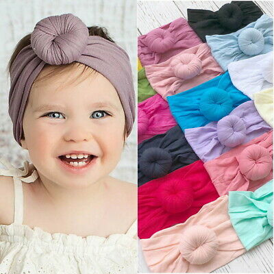 Kid Baby Girl Solid Turban  Knot Elastic Wide Headbands Hair Accessories