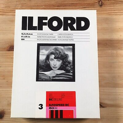 """100 Sheets Ilford Ilfospeed 3 RC Deluxe Photo Glossy Paper 6 1/2""""x8 1/2"""" Medium"""