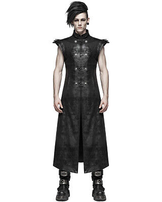 Punk Rave Mens Dieselpunk Armour Long Waistcoat Jacket Coat Vest Black Gothic
