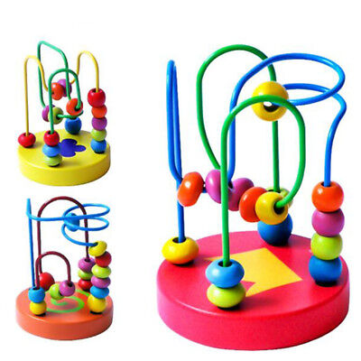 Kids Colorful Wooden Mini Wire Maze Around Beads Educational Baby Toy Gift BS