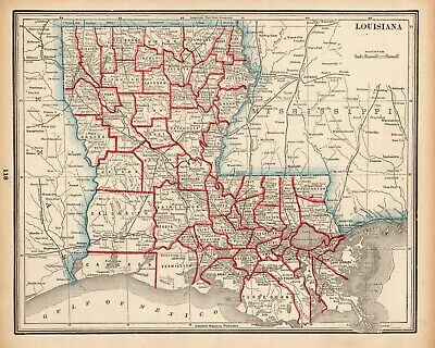 1892 Antique LOUISIANA MAP Vintage State Map of Louisiana Atlas Map 6472