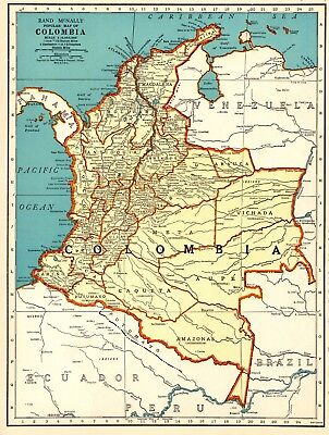 1937 Antique Map of COLOMBIA Map South America Map Gallery Wall Art #6476