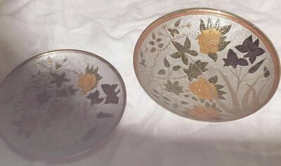 Solid Brass Cloisonne Yellow Rose Iris Footed Bowl and Plate Vtg Enamel India