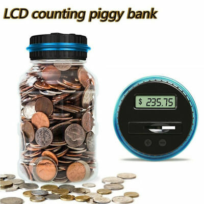 Electronic Digital Coin Counter Automatic Money Counting Jar Saving Piggy Blue
