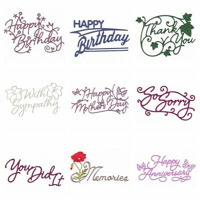 Flower Words Sentiments Metal Cutting Dies Stencils Scrapbook Paper Cards Crafts