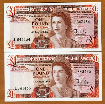 SET Gibraltar, 2 x 1 pound, 1988,  P-20e, Consecutive pair, Young QEII, UNC
