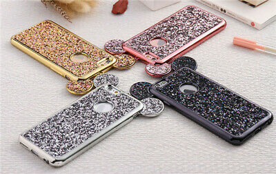 Luxury Bling 3D Mouse Ear Soft TPU Phone Case Cover For iPhone X 8 7 6/6S Plus