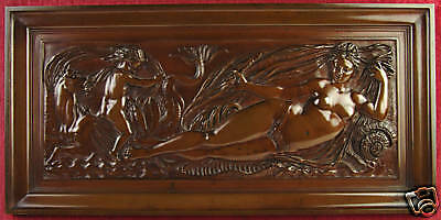Antique French Bronze Sculpture Nude Girl Bas Relief Signed Barbedienne Fondeur