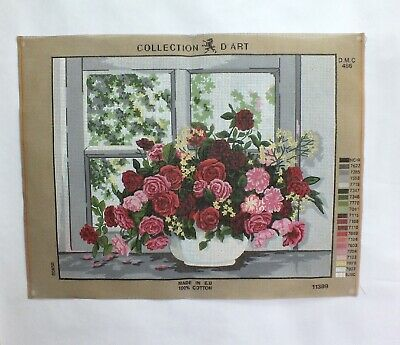 """Vintage Tapestry needlepoint canvas Large 19"""" X 15"""" Flowers Red Roses Bouquet"""