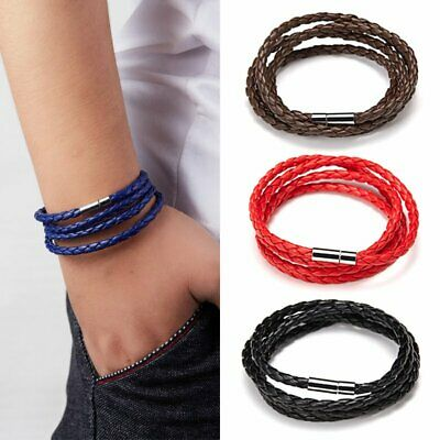 Fashion Men Punk Wide Multi-layer Braided Leather Bracelet Wristband Jewelry Hot