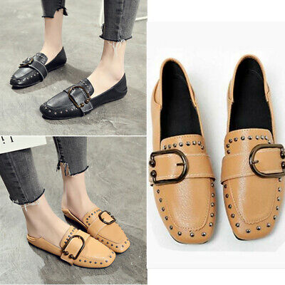 Womens Punk Rivet Big Buckle Smoking Slipper Casual Soft Slip on Mules Loafers