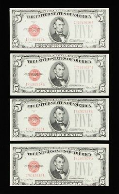 Series 1928-F U.S. $5 Dollar Notes: Sequential Lot of 4, FR-1531, Gem Unc Grades