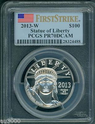 2013-W $100 PLATINUM EAGLE 1 Oz. PCGS PF70 PROOF PR70 FIRST STRIKE FS BOX & COA