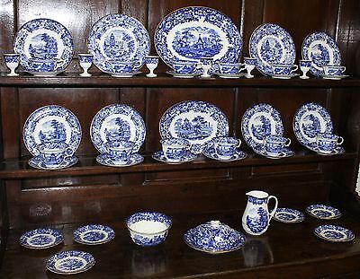 Antique Wedgwood Flow Blue Pagoda & Roses Temple 49 pc Breakfast Set Circa 1890