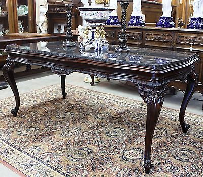 Antique Country French Hand Carved Walnut MarbleTop Louis XV Table or Desk C1880