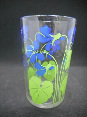 """Kraft Swanky Swig Blue Posy: Violets Food container Glass Tumbler 3-1/2"""""""