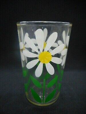 """White and Yellow Daisy Food container Glass Tumbler 3-1/2"""" Poss Kraft Swanky"""