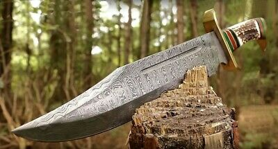Large Damascus Steel Full-Tang Bowie Knife w/Leather Sheath